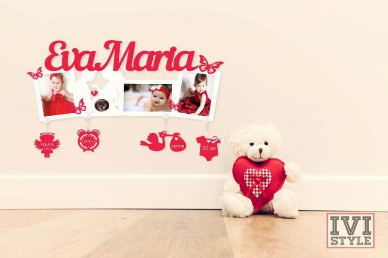 rama foto personalizata pentru bebelusi cu ecografie rosu alb