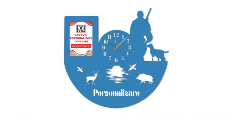 Ceas-pentru-Vanatori-cu-Rama-foto-Personalizat-blue