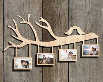 Rama foto crenguta lemn cu porumbei