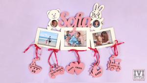 rama foto bebelusi personalizata ursulet si iepuras