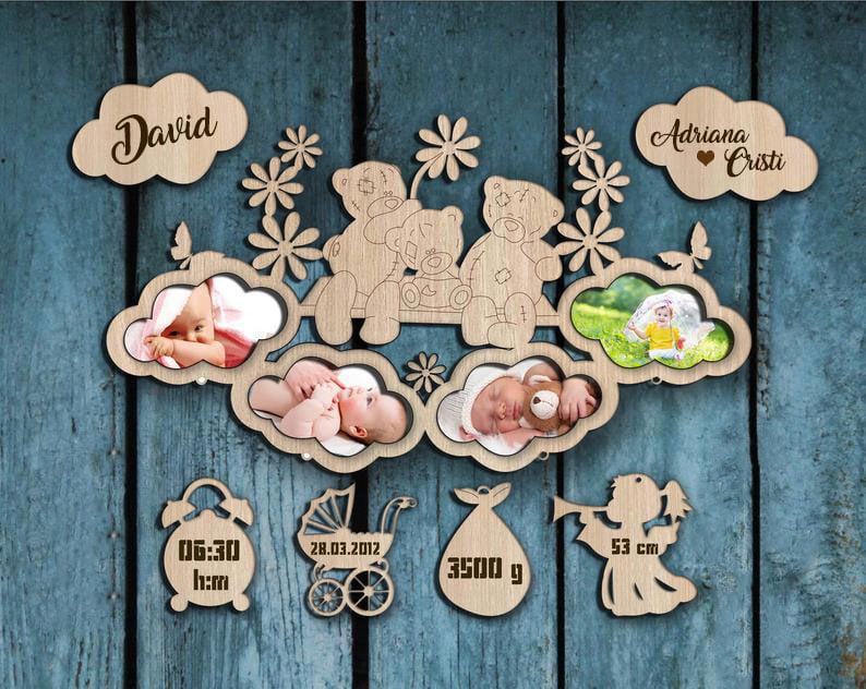 rama-foto-personalizata-bebelusi-ursuleti-pe-norisori