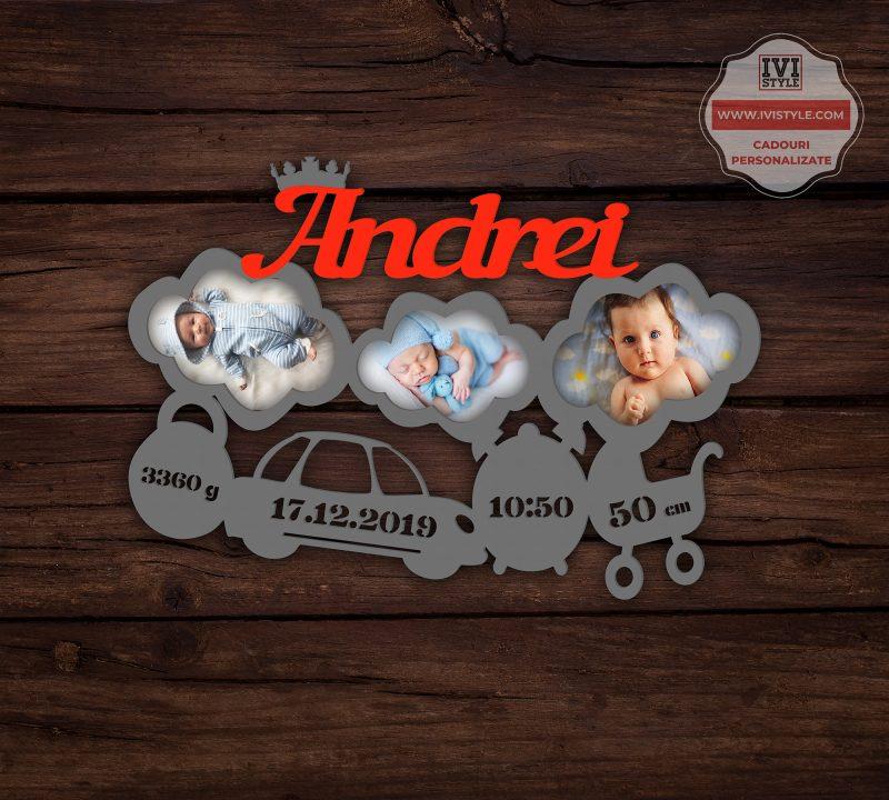 Rama Foto Personalizata Bebelusi nr 29 gri + rosu