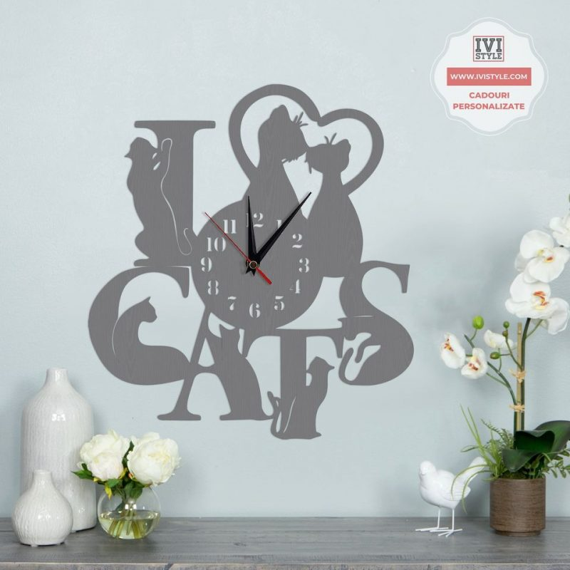 Ceas Personalizat Pisici I Love Cats
