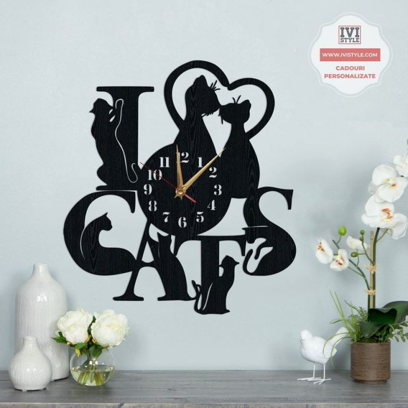 Ceas decorativ pisici I Love Cats
