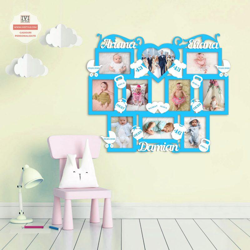 Rama Foto Personalizata Bebelusi pentru trei copii nr 33