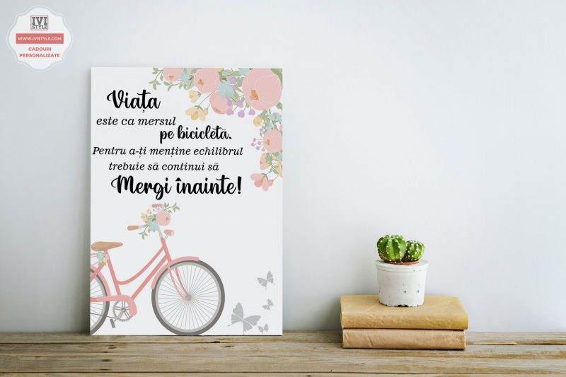 Tablou-Personalizat-Canvas-Viata-este-ca-mersul-pe-bicicleta-Roz