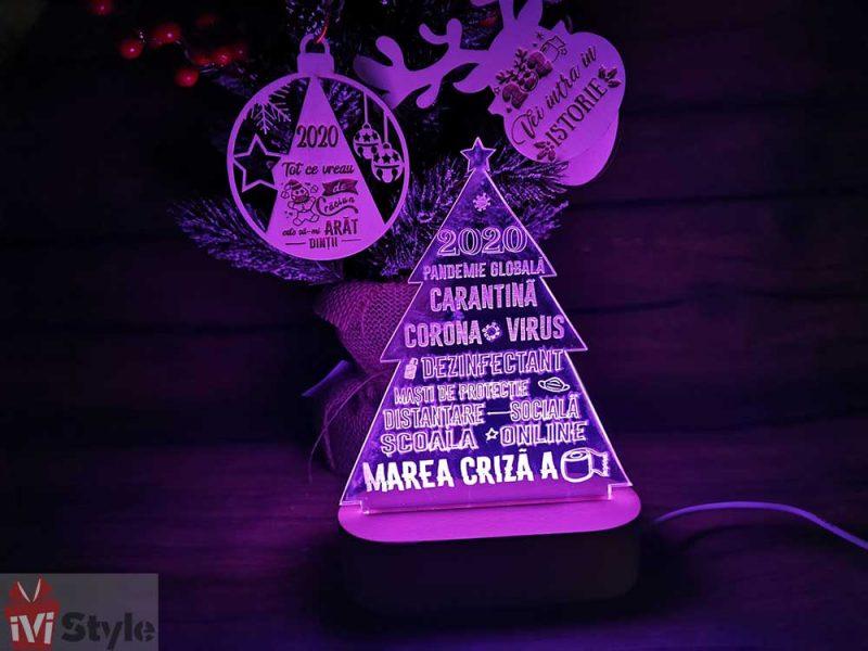 Lampa LED cu Baza de Lemn Bradut 2020 Covid mov