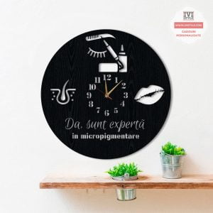 Ceas de Perete Da Sunt Experta in Micropigmentare Lemn