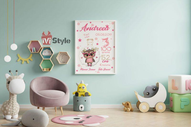 tablou-personalizat-pentru-copii-bufnita-roz