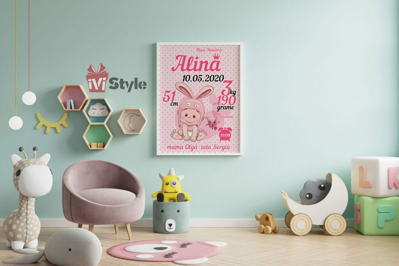 tablou-personalizat-pentru-copii-iepuras-fetita-roz